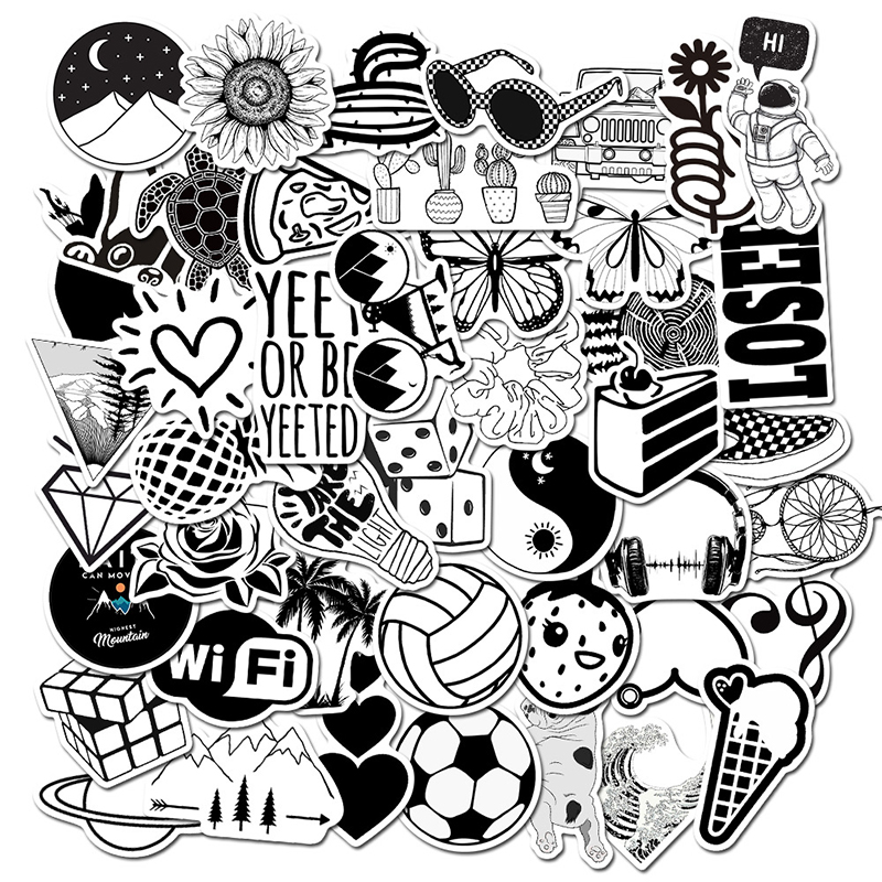 50pcs Black And White Cool DIY Stickers For Skateboard Laptop Luggage Snowboard Fridge Phone Toy Styling Home Decor Stickers F4
