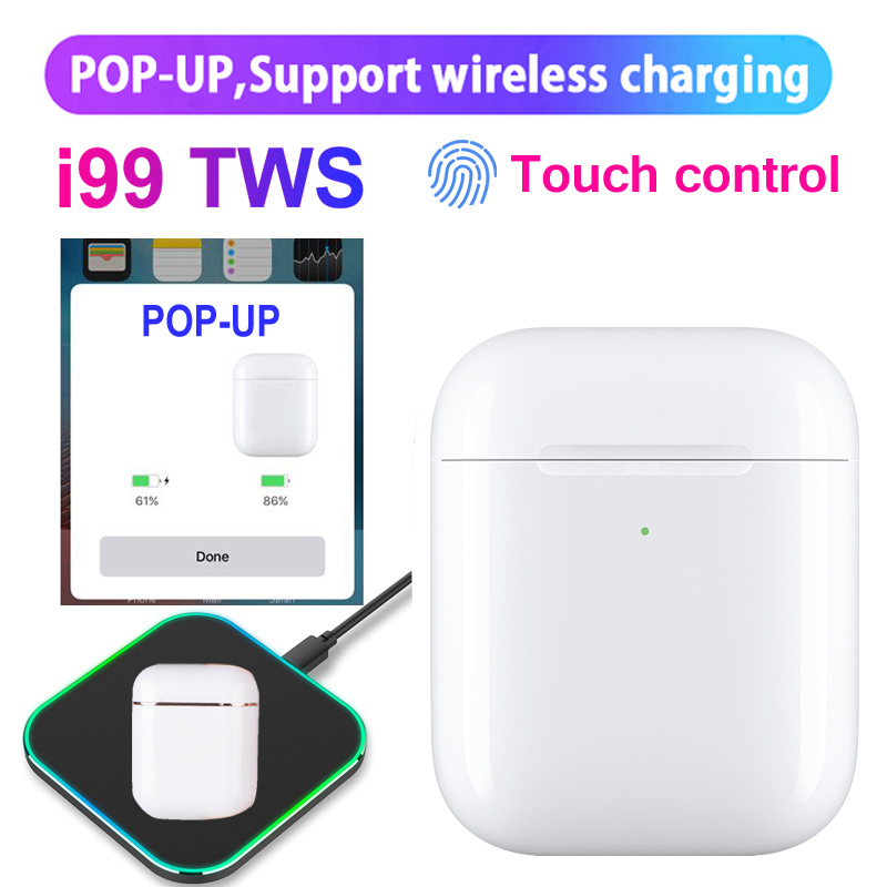 i99 <font><b>Tws</b></font> Mini <font><b>Pop</b></font>-<font><b>up</b></font> Wireless Bass Stereo Bluetooth Earphones Tap Control Earbuds with Charging Box for Huawei Xiaomi Android image