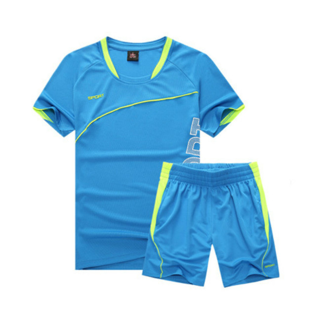 Adult Sports Suit Men's Summer Soccer Set Quick Dry Football Training Suit Short Sleeves Sportswear Kit Wth Pockets Breathable