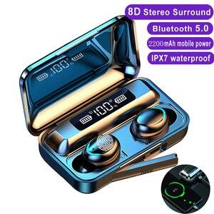 Image 1 - חדש F9 אלחוטי אוזניות TWS Bluetooth 5.0 אוזניות 8D HIFI סטריאו עמיד למים אוזניות אוזניות טעינת תיבת עם מיקרופון