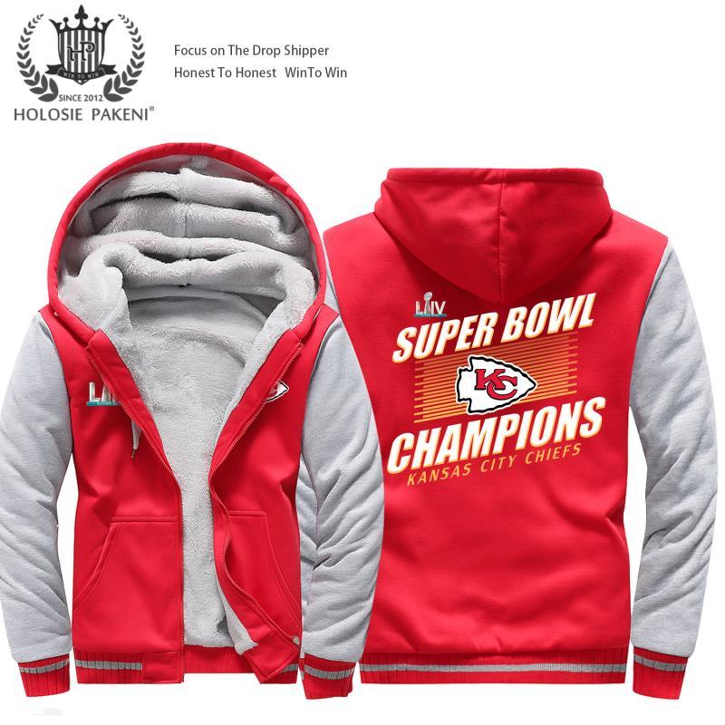 USA Size Men Kansas City Thicken Warm Winter Chiefs Champion  Fleece Hoodie Zipper Hoodie Sweatshirt Jacket Custom Coat