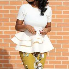 Falbala Women Tops Blouse 2019 Summer Irregual Hem Blouse Short Sleeve Plain Ruffles Office Lady Elegant Shirts Blouse lace sleeve and hem blouse