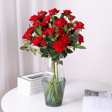 yumai 5 heads 65cm Red Roses Artificial Flowers Valentines Day Gift Romantic Wedding party Velvet Decoration
