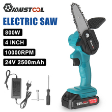 MUSTOOL 4 inch Mini Cordless Electric Chain Saw 24V Lithium Battery Portable Garden Logging