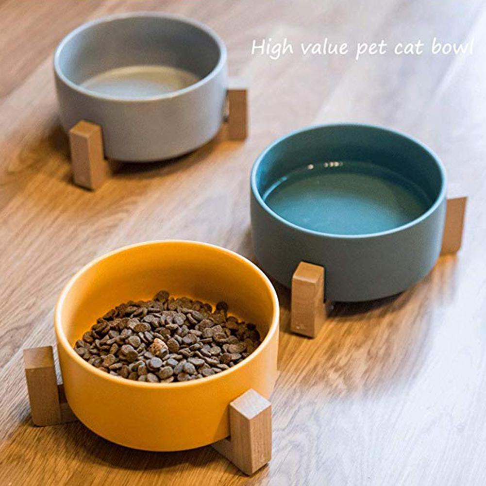 Pet Cat Dog Feeders Bowl Ceramic Feeding Bowl With Wood Frame Pet Food Water Bowl Antiskid Pet Supplies Dog Cat Feeding Bowl