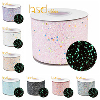 HSDRibbon 75mm 3 inch Colorful Noctilucent Glitter Chunky Glitter leather Ribbon