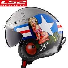 LS2 open face motorcycle helmet with flip up visor vintage retro moto 3/4