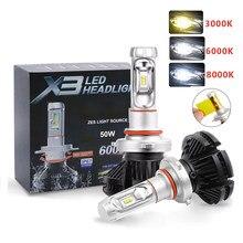 Kit Auto LED H7 6500K 8000LM H1 H8 H3 H8 H9 H11 9005 HB4 H13 X3 LEVOU Farol 6000LM 50W H4 Carro Lâmpadas Led Lâmpada Brilhante Luz da lâmpada