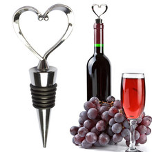 Stainless Steel Heart Wine Stoppers Champagne Wine Bottle Stopper Wedding Favors Gifts Wine Cork Metal Straw #5(China)