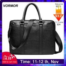 Vormorプロモーションシンプル有名なブランドビジネスメンズブリーフケースバッグ高級レザーラップトップバッグマンショルダーバッグボルサmaleta