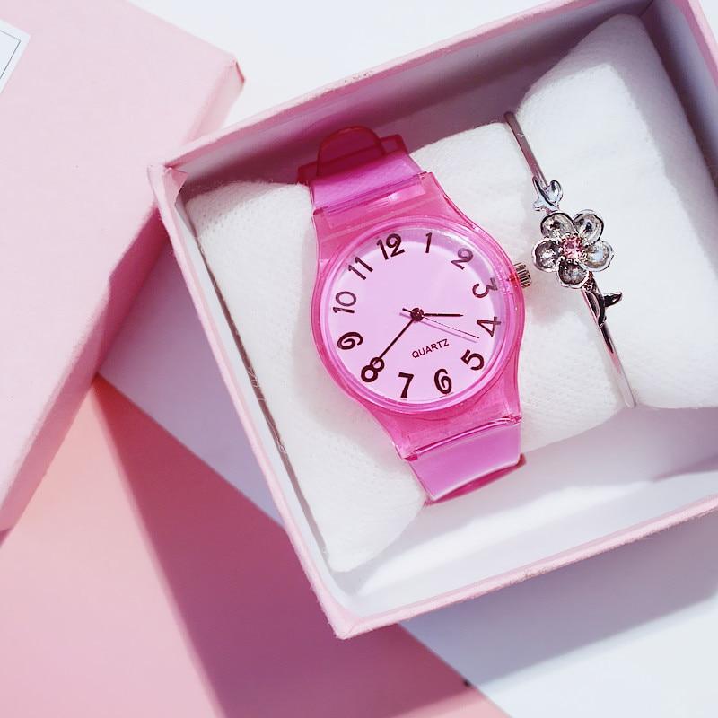 Boys Watch Silicone-Rubber Girls Clock Relogio Strap Enfant Montre Transparent Pure-Color