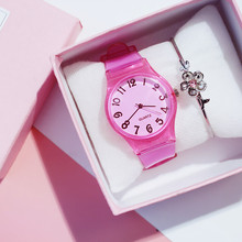 Kids Watches Lovely Pure Color Silicone Rubber Transparent Strap Boys W