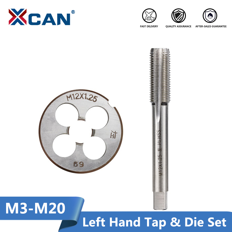 Xcan 2 pçs m3 m6 m8 m10 m12 m14 m16 m18 m20 mão esquerda máquina torneira e morrer conjunto de rosca métrica torneira da máquina de broca plug tap morrer
