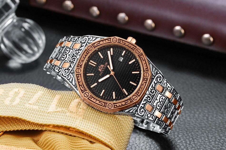 H60ce6cb132bd4b6d9e2f0c6c66c89c80K Men Carved Antique Vintage Luminous Rose Gold Yellow Gold Silver 2 Tones Fashion Blue Classic Quartz luxury watch
