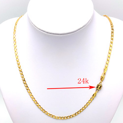 Solid 24 k Stamp Link Carat Gold GF Women's  Necklace Curb  Chain Birthday Valentine Gift Valuable 20