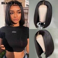 perruque cheveux humain Perruque Bob Lace Frontal Wig Remy brésilienne naturelle – Black Pearl, cheveux courts, lisses, Deep Curly, 13x4