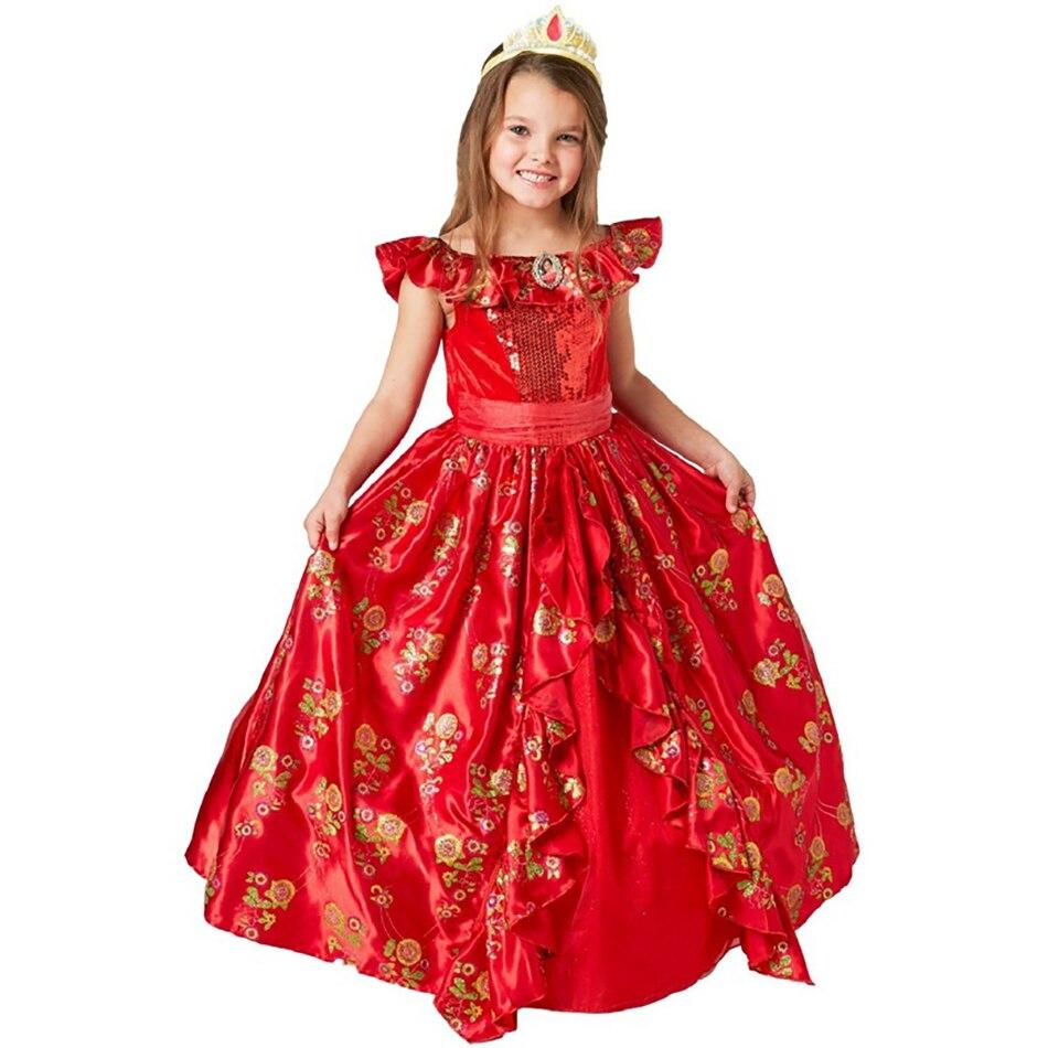 Menina clássico princesa elena vermelho cosplay traje crianças de avalor elena vestido crianças sem mangas festa de halloween vestido de baile outfits