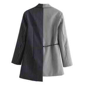 Image 2 - [EAM] Loose Fit black striped split joint bandage Jacket New Lapel Long Sleeve Women Coat Fashion Tide Spring Autumn 2020 JZ065