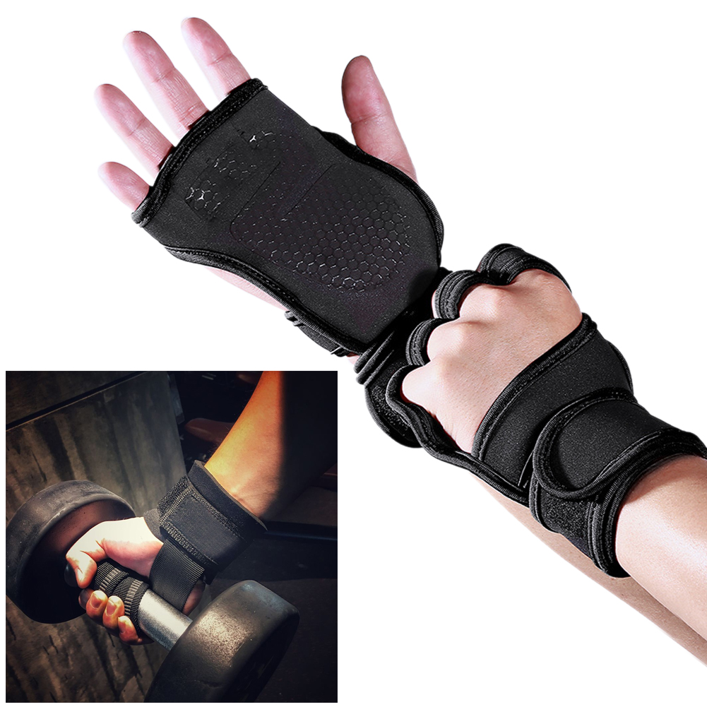 New Fitness Leather Gym Gloves Body Building Training long Strap Half Finger