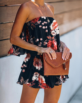 2020 Women Summer Casual Sleeveless Sexy Ruffle Short Floral Print Romper Elegant Bandeau Layered Ruffle Cutout Back Romper цена 2017
