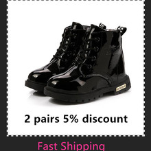 New Spring Children Waterproof Snow Boots PU Leather Brand Kids Rubber Boot Fashion Warm Fur Short Boot Boy Girl Sneakers Shoe