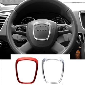 Samochód stylizacji samochodów kierownicy koła centrum logo naklejki na osłonę wykończenia dla Audi A4 B6 B7 B8 A6 C6 A5 Q7 Q5 A3 8P S3 8v akcesoria do wnętrz
