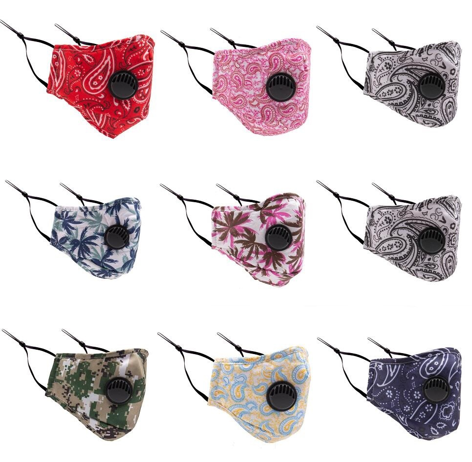 Washable PM2.5 Mouth Masks With Valve Filter Anti Dust Anti Pollution Windproof Cotton Mask Fashion Reusable Printing Face Mask