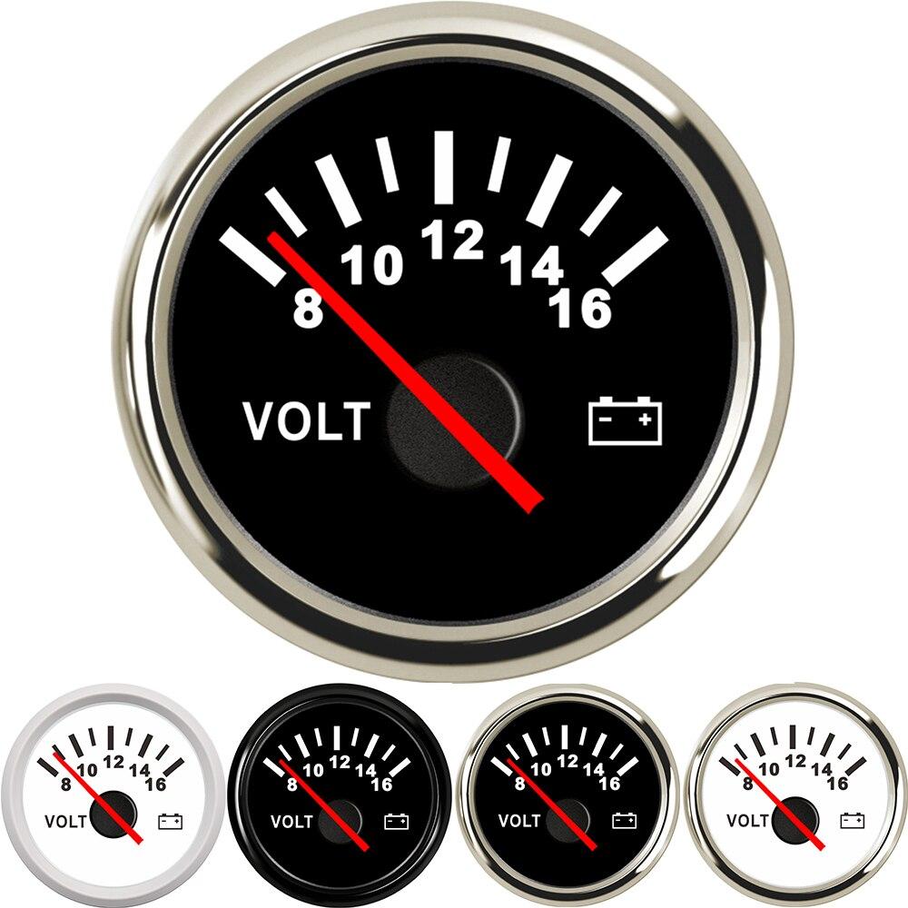 Voltmètre automatique marin universel de voltmètre de 52mm 8-16V jauge imperméable pour l'automobile de bateau de voiture de moto avec le rétro-éclairage rouge 12V