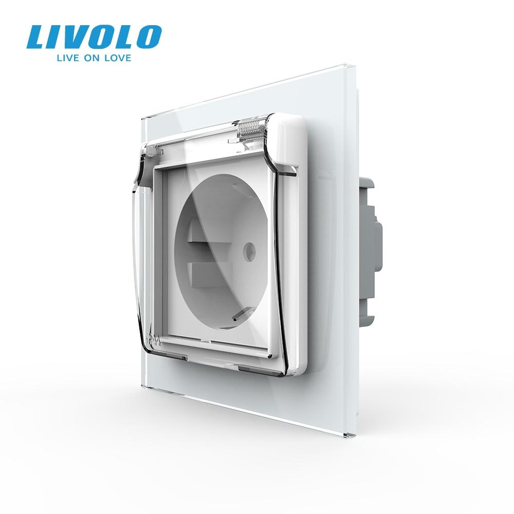 Livolo Power-Socket Wall Waterproof-Cover Glass-Panel White Standard 16A EU AC with C7C1EUWF-11