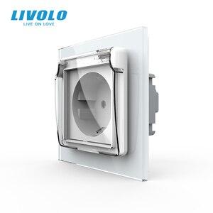 Image 1 - Livolo EU Standard Power Socket, White Glass Panel, AC 110~250V 16A Wall Power Socket with Waterproof Cover C7C1EUWF 11