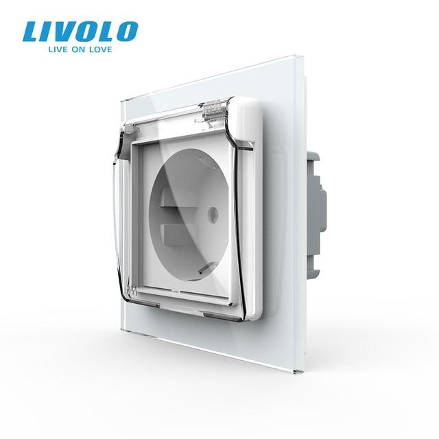 Livolo EU Standard Power Socket, White Glass Panel, AC 110~250V 16A Wall Power Socket with Waterproof Cover C7C1EUWF 11