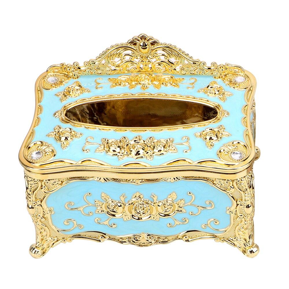 NICEYARD, роскошная Европейская коробка для салфеток, кухонный Органайзер, чехол для салфеток, декор для отеля, органайзер для дома, для хранения - Цвет: Gold Blue