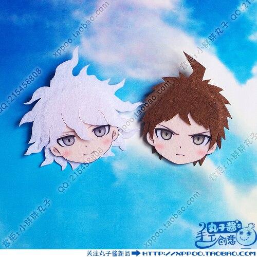 Cute Anime Super Danganronpa 2 Hinata Hajime Komaeda Nagito Cosplay Badge Nonwoven Fabric Button Brooch Pin Bedge Gifts