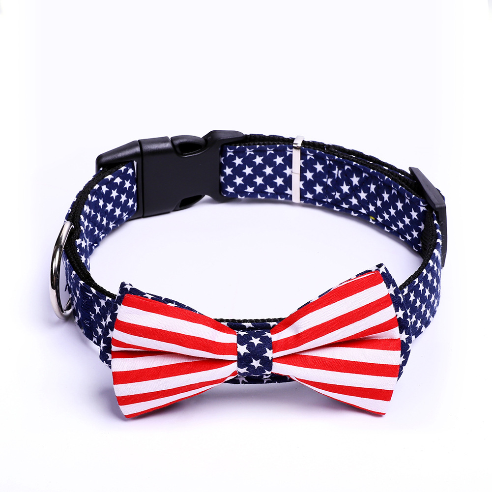 Bow Pet Collar Customizable New Style American Flag Neck Ring Printed Cat Dog Bowtie