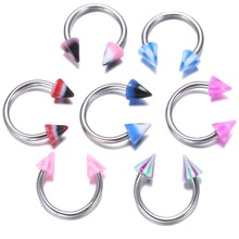 5PCS Tongue Eyebrow Piercing Lip Belly Navel Ring Jewelry Pointed C-shaped titanium eyebrow nail nose ring -Random mixed(China)