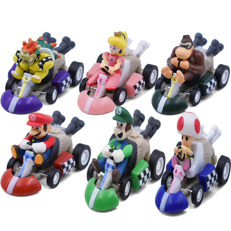6Styles/Set Super Mario Mini Kart Pull Back Cars Luigi Toad Bowser Koopa Donkey Kong Princess Peach Cars Figure Toys For Kids