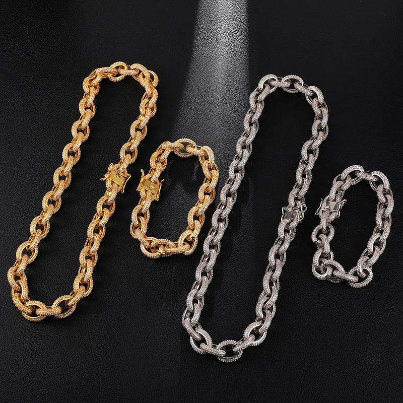 12MM glacé AAA CZ torsadé ovale cubain lien chaîne collier grand fermoir or argent couleur Zircon pour hommes cuivre bijoux - 2