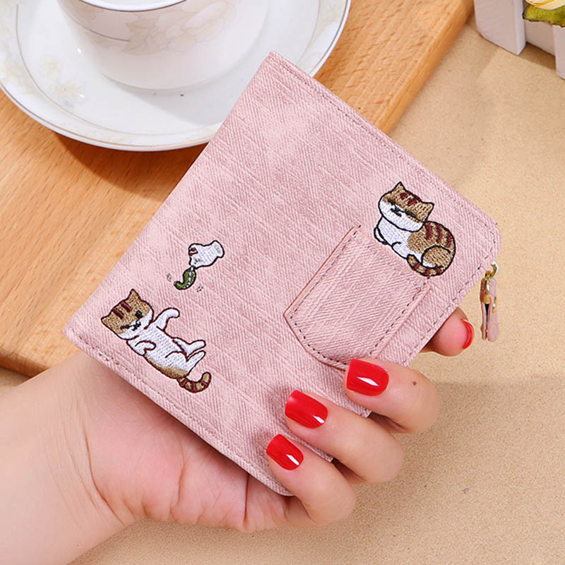 New Design Wallet Women Embroidery Cat Wallet Zipper Coin Purse Short Women's Wallet Mini Cards Holder Bag Carteras Mujer