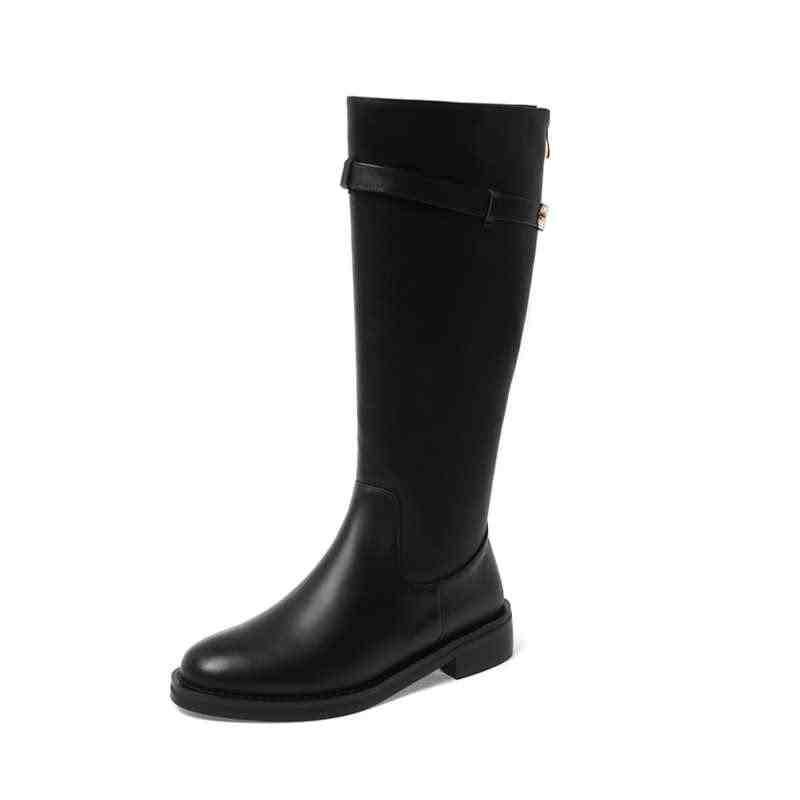 Krazing Pot büyük boy metal kemer tokası inek deri şövalye çizmeler temel katı Zip kış streetwear sıcak tutmak uyluk yüksek çizmeler L63