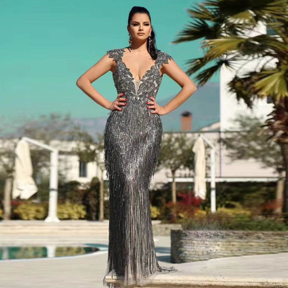 Couture Luxury Deep V Neck Rhinestones   Evening     Dresses   Long Backless Mermaid   Evening   Gown Formal   Dress   Robe De Soiree