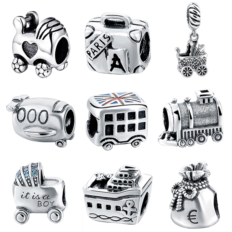 Fit Authentic European Bracelets Silver 925 Original Beautiful suitcase car train Charms Beads Pendant Jewelry making for Gifts