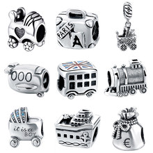 SG Hot 925 Sterling silver Bead Boy Baby Car bus train suitcase purse plane ship charms fit pandora bracelet for Women Jewelry(China)