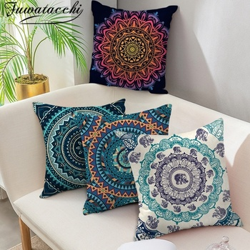Fuwatacchi Mandala Pattern Cushion Cover Woven Geometric Floral Pillow Cover for Home Sofa Chair Decorative Pillows 45*45cm fuwatacchi black gold foil linen cushion cover leaf flowers diamond pillow cover for home chair sofa decorative pillows 45 45cm
