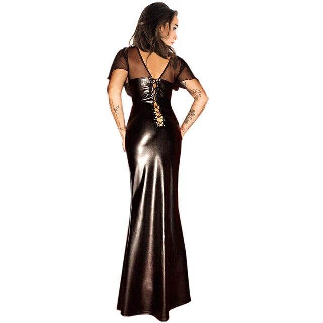 Women Clubwear Party Dress Ladies Wet Look Exotic Vinyl Leather Waist Long Dress V-Neck Long Sleeve Floor Length Maxi Dresses 4