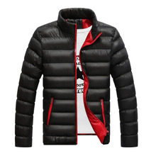 Winter Men Cotton Jacket Thickened Parkas Slim-cut Warm Padded Overcoats Stand C