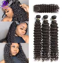 Miss Dona Long  Deep Wave Curly With Closure Brazilian Virgin Remy Hair 34 36 38 40 Bundles Human Hair 4x4 Lace  For Black Women