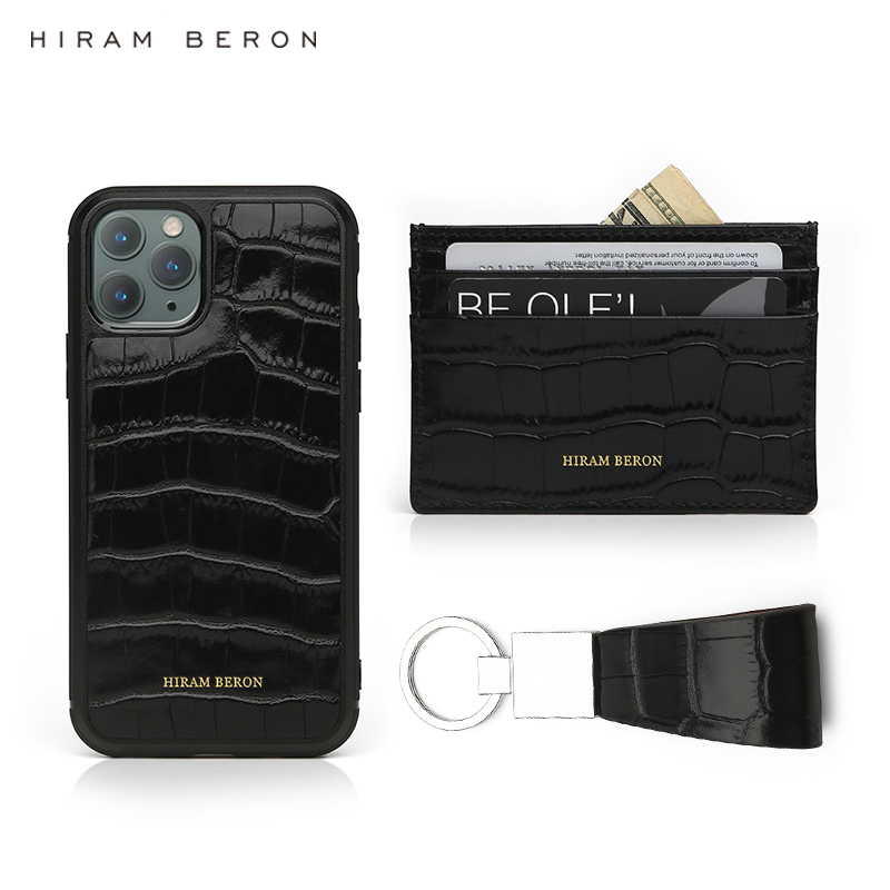 Hiram Beron Monogrammed Gift For Friends Luxury Italian Leather Luxury Product Card Holder And Case For Iphone 11 Pro Key Holder