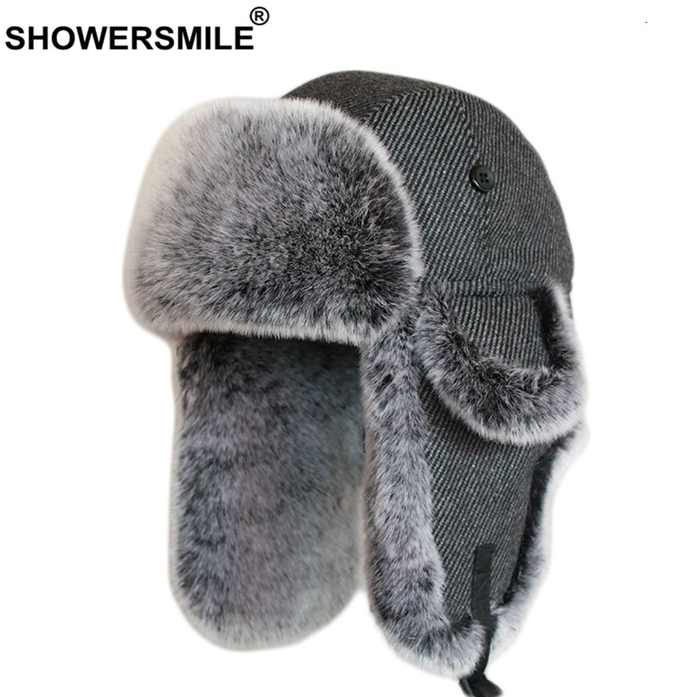 SHOWERSMILE Wool Bomber Hats For Men Fur Trapper Hat Russian Winer Ushanka Soviet Hat Striped Dark Grey Warm Thick Ski Snow Cap
