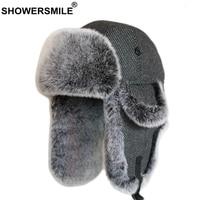 SHOWERSMILE Wool Bomber Hats For Men Fur Trapper Hat Russian Winer Ushanka Soviet Hat Striped Dark Grey Warm Thick Ski Snow Cap