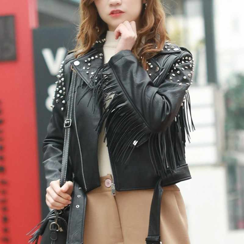 Autumn New Women Punk Tassels Pu Leather Jacket Short Rivet Studded Slim Fit Faux Leather Coat Korean Belted Windproof Jackets